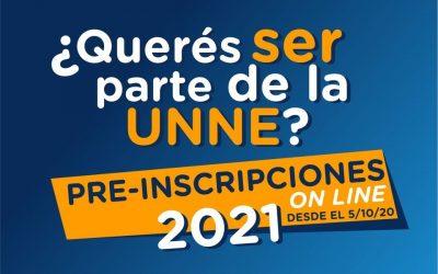 Inició el período de PREINSCRIPCIONES 2021 para las carreras de la #UNNE