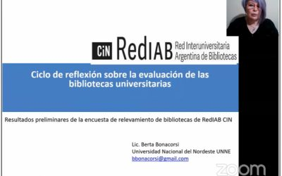 En Jornada virtual de la REDIAB la coordinadora del RIUNNE presentó resultados preliminares de relevamientos de bibliotecas universitarias